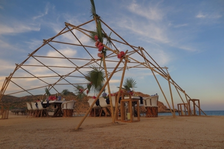 beach bamboo structure
